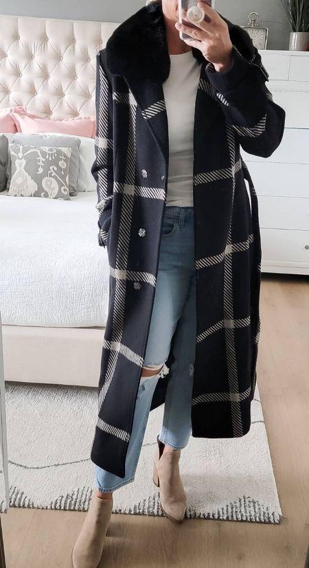 gorgeous wool plaid coat for this winter, under $100  #LTKSeasonal #LTKunder100 #LTKworkwear