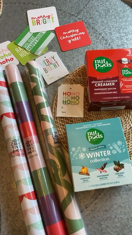 Beautiful gift wrap and tags @joycreativeshop, and my fave creamer @nutpods holiday collection are available now! Easy items to cross off my holiday list🌲   #LTKHoliday #LTKGiftGuide