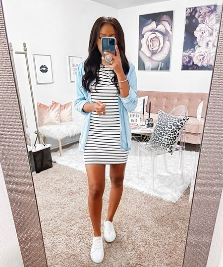 """I am 5'4"""" and rocking this bodycon t-shirt dress in an xs. You could size up if you wanted a more relaxed fit. However, I still have room and it does have some stretch to it. Great for every season, layer up, wrap a denim jacket around your waist or throw on a baseball cap. Wear this beauty with sneakers or wedges.  #LTKunder100 #LTKstyletip #LTKunder50"""