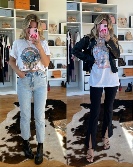Casual outfit ideas fall outfit ideas graphic T distressed denim black boots homemade T-shirt oversize tee   #LTKunder50 #LTKSeasonal #LTKstyletip