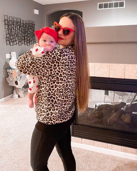 http://liketk.it/38reG #liketkit @liketoknow.it #LTKVDay #LTKbaby #LTKfamily leopard print graphic sweatshirt. Valentine's Day look. Baby outfit