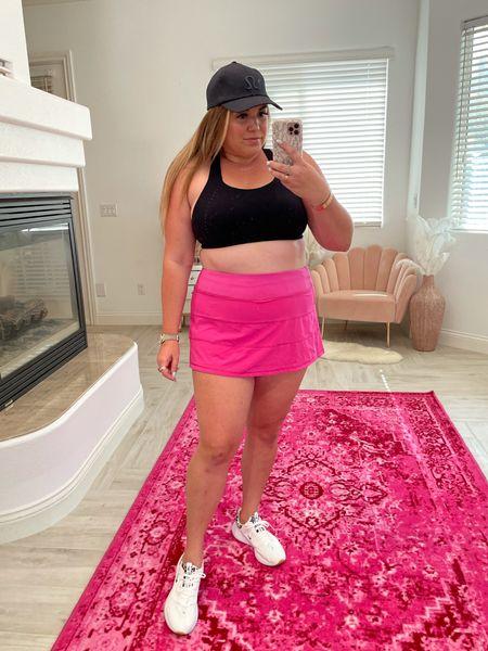 curvy fit style! wearing 38D in sports bra, size 14 in skirt   #LTKunder100 #LTKcurves #LTKfit