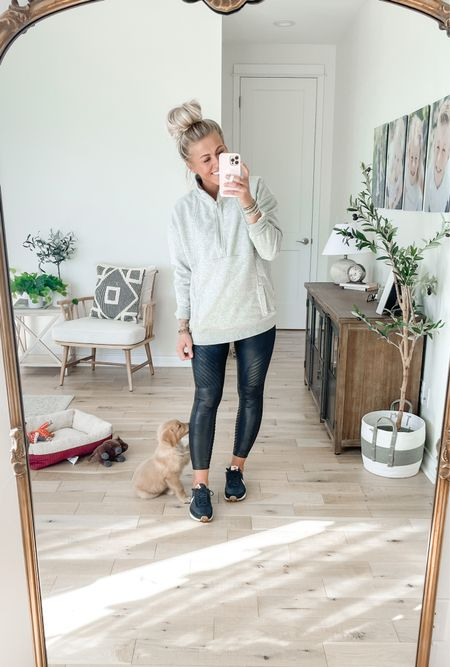 Wearing the Spanx faux leather moto leggings in medium regular.   Use SARAHJOYxSPANX for 10% off + free shipping!!