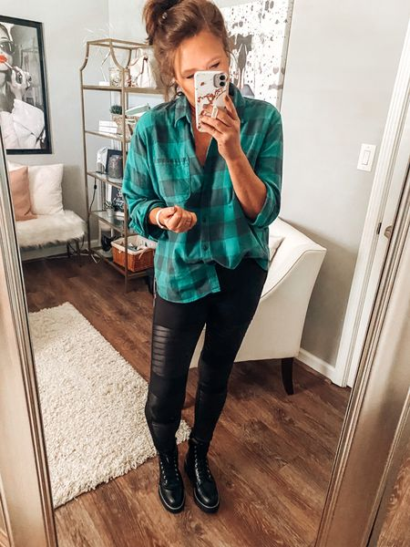 Target style is coming in hot 🎯Plaid flannel shirt with moto leggings and combat boots #targetstyle #target #targetfinds  Fall outfits, casual outfit, moto leggings outfit, combat boots outfits, weekend outfit, fashion over 40  #LTKstyletip #LTKsalealert #LTKunder50