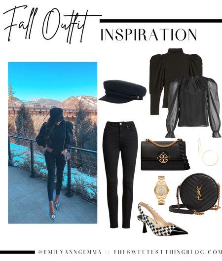 Fall Outfit Ideas, Black Jeans, Black Denim, Black Handbag, Jimmy Choo heels, Tory Burch handbag, Saint Laurent black handbag, puff sleeve sweater, puff sleeve top, black hat, Emily Ann Gemma