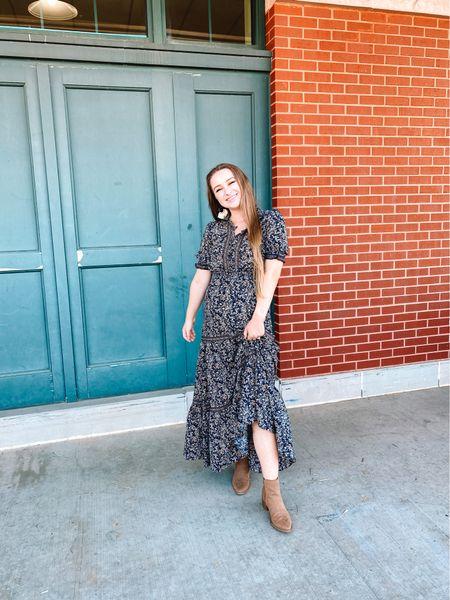 TjMaxx paisley printed blue dress. I went up 1 size for the bump! Target beige suede booties, fits true to size  Amazon beige fringe earrings   #LTKstyletip #LTKshoecrush #LTKbump
