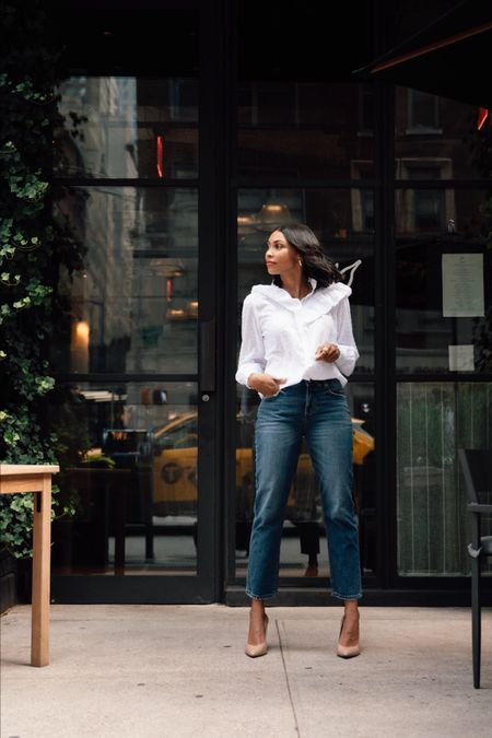 Premium denim feels under $80 -- yes, please! My vintage-inspired jeans are only @loft !! Shop my LOFT look with a screenshot of this picture with @ LTK or with the link in my stories! #LOFTimist #ad  #LTKunder100 #LTKstyletip #LTKworkwear