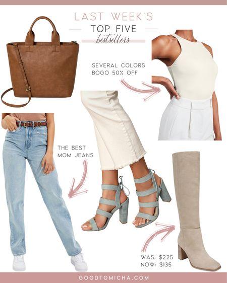 Last week's top five items - brown leather tote, bodysuit, mom jeans, scrappy heels and boots!  #LTKstyletip #LTKsalealert #LTKshoecrush