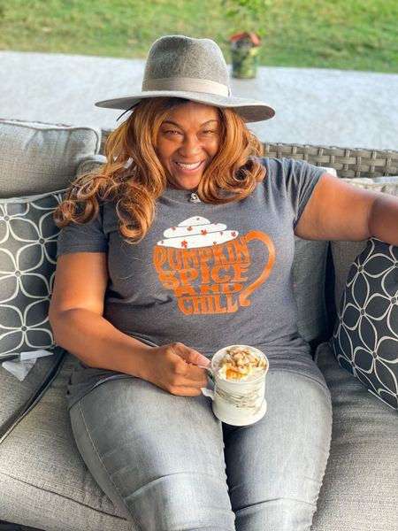 Cute Fall Pumpkin Spice and Chill Latte Mug T Shirt with my new Gray hat from   Gigi Pip Monroe Rancher Western Felt Hat for Women. #PumpkinSpiceLatte #PSL #Chilling #SaturdayVibes #Hats #TShirts #Latte #Patio