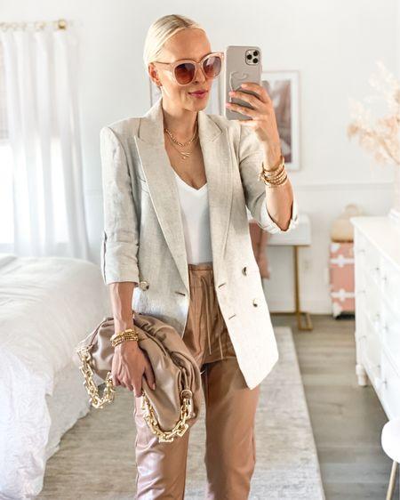 Victoria Emerson accessories. Linen blazer. Faux leather joggers. Chain dumpling bag. White bodysuit.   #LTKunder100 #LTKstyletip #LTKSeasonal
