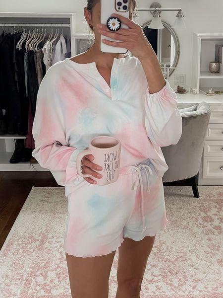 Amazon loungewear, pajama set, tie dye, Sunday, cozy   #LTKunder50 #LTKunder100 #LTKstyletip