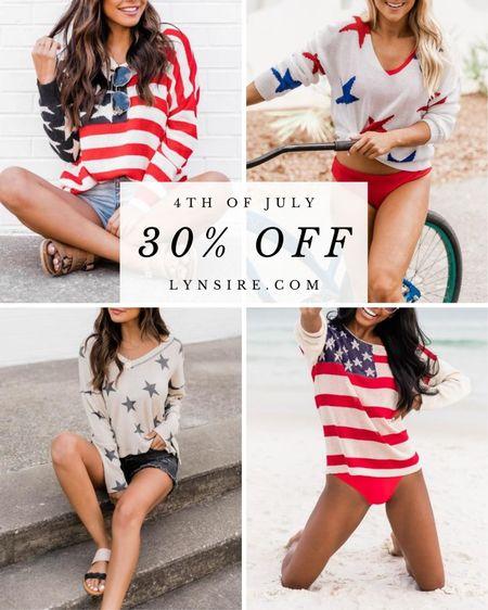 Select patriotic items are 30% off! Tees, tanks, blouses, swimsuits, and more 🇺🇸   #LTKSeasonal #LTKsalealert #LTKunder50