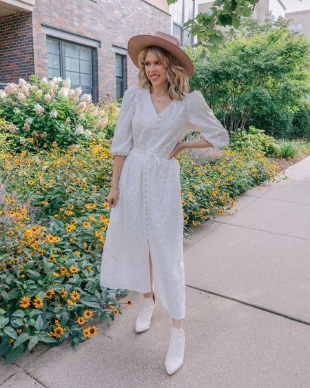"""REASONS TO NOT WEAR WHITE AFTER LABOR DAY-  None, there is not a single good reason. Look how cute this @chicwish dress transitions into fall! Anyone else think this is one of the dumbest fashion """"rules""""? . . .   #LTKunder50 #LTKsalealert #LTKSeasonal"""
