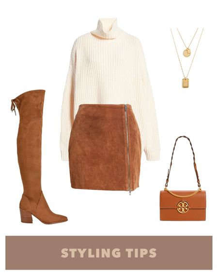 A faux suede skirt paired with a white turtleneck sweater , brown over the knee boots and a shoulder bag makes a cute date night or fall outfit. http://liketk.it/3jLjM #liketkit @liketoknow.it l #LTKworkwear #LTKshoecrush #LTKSeasonal #LTKunder50 #LTKsalealert #LTKitbag #LTKunder100 #LTKstyletip #LTKcurves   Nordstrom sale   fall fashion   fall outfits   skirt outfit   oversized sweater   fall skirt   fall sweaters   skirt and sweater   skirt mini   suede mini skirt   sweaters   sweaters under $30   sweater weather   sweater outfit ideas   petite style   petite fashion   over the knee boots   thigh high boots   over the knee boots browm   over the knee boots with skirt   bags on sale   necklace set