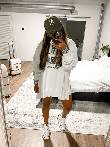 Love this over sized sweatshirt I am wearing a size XL and a M in the shorts  #hat #chill #sweats #abercrombie #abercrombieandfitch #fall #convers   #LTKstyletip #LTKunder50 #LTKsalealert