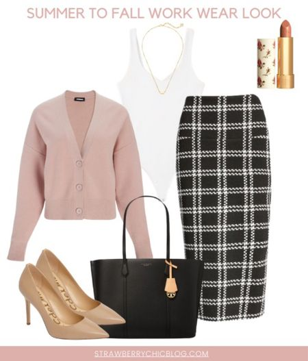 Summer to fall work wear look- pair a body suit with a pencil skirt and add a cardigan   #LTKshoecrush #LTKSeasonal #LTKstyletip
