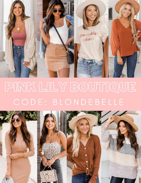 CODE: BLONDEBELLE  . . . Fall, fall outfits, fall hat, fall sweater, cardigan, graphic tee, blouse, fall dress, pink lily boutique    #LTKstyletip #LTKunder50 #LTKSeasonal