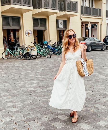 Button front white dress  #beachdress #oversizedsunglasses #amazonsunglasses #strawbag #targetclothes #marcfisher #braidedsandals  #LTKSeasonal #LTKunder50 #LTKitbag