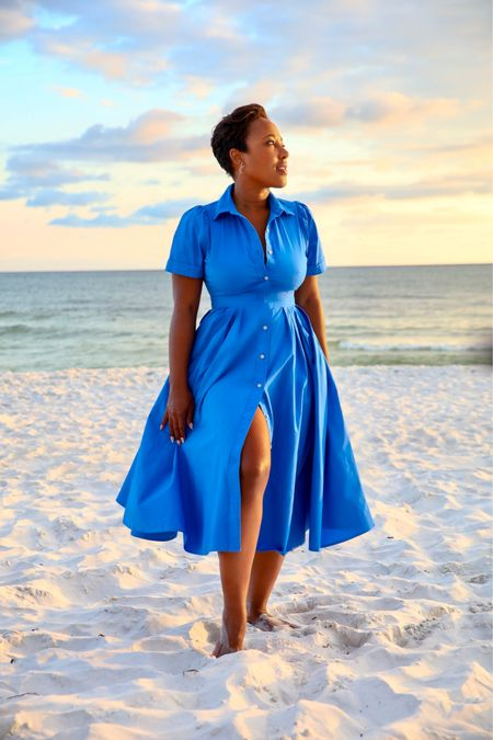 This Target x Alexis dress is sold out but I've linked similar styles of blue shirtdress   #LTKSeasonal