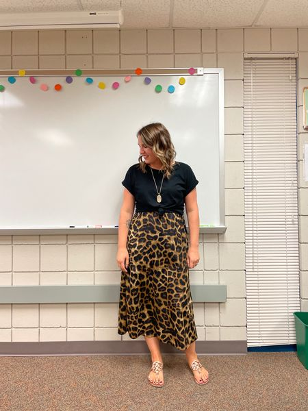 This is actually a leopard print maxi dress with a tee knotted over top! I love mixing things up!   #LTKcurves #LTKbacktoschool #LTKstyletip