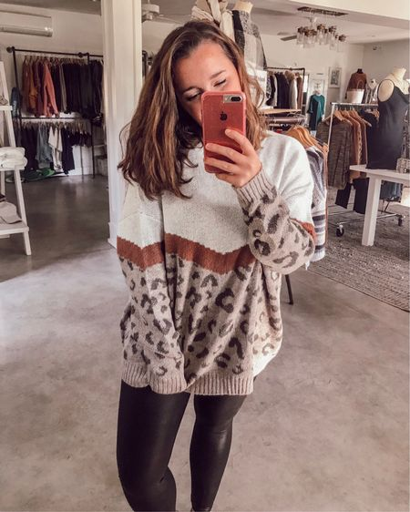 Three big things: 1️⃣ this sweater is under $50 and just went live on beaufortproper.com. 2️⃣ my favorite leather leggings/the only bottoms I wear ever are on pre-black friday sale for 20% off. And 3️⃣ I'm giving away some PayPal cash tonight at 9 with some friends. Just gotta put the bebe to sleep and it's showtime 🖤 love ya, mean it! . Get the sale price on my leggings at http://liketk.it/2HrPs or use the @liketoknow.it app to shop your screenshot of this pic! #liketkit #LTKholidaystyle #LTKsalealert #LTKunder50 #blackfriday