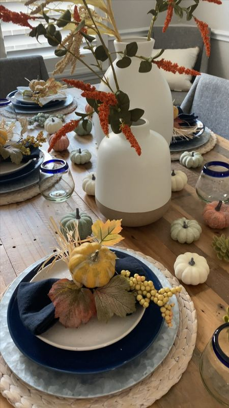 Dining room tablescape home decor fall decorations pumpkins holiday seasonal  #LTKHoliday #LTKSeasonal #LTKhome