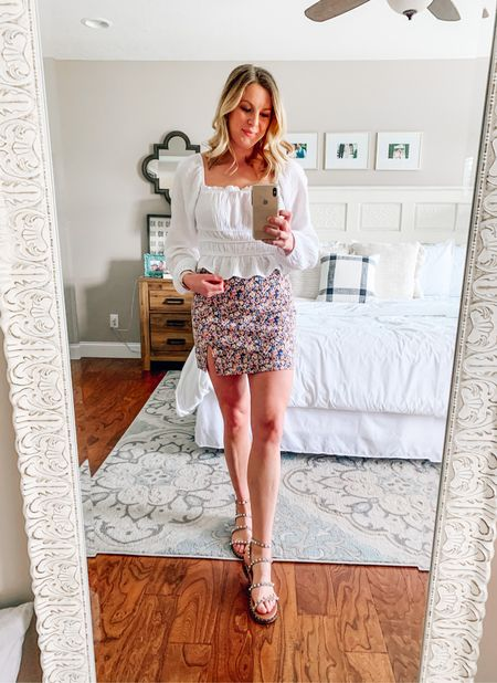 white peasant top and the floral mini skirt - sized up one size in both Paired with studded gladiator sandals  Spring date night outfit   #LTKSeasonal #LTKstyletip #LTKunder100