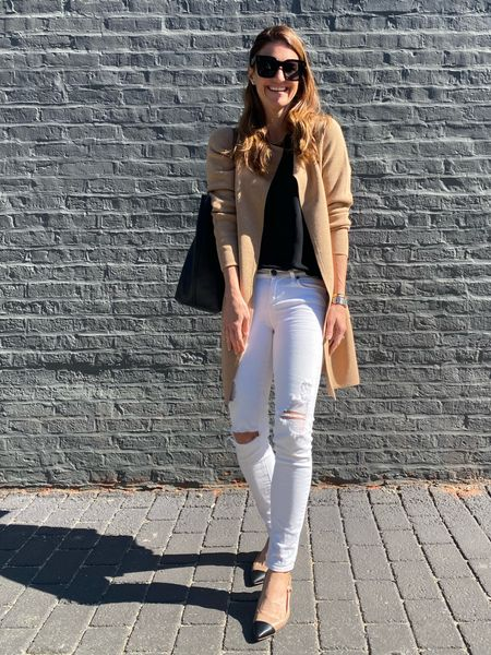 Fall transition outfit, j crew style, cardigan, fall outfits, neutral fall style, Black and Tan, Chanel dupe, pointed shoes, classic outfit, work style, finding beauty mom , Madewell tote bag, work bag, black tote bag  #LTKbacktoschool #LTKstyletip #LTKworkwear