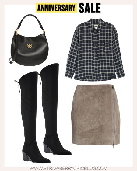 Nordstrom Anniversary Sale look featuring over-the-knee black boots and plaid button down shirt.   #LTKsalealert #LTKshoecrush #LTKstyletip
