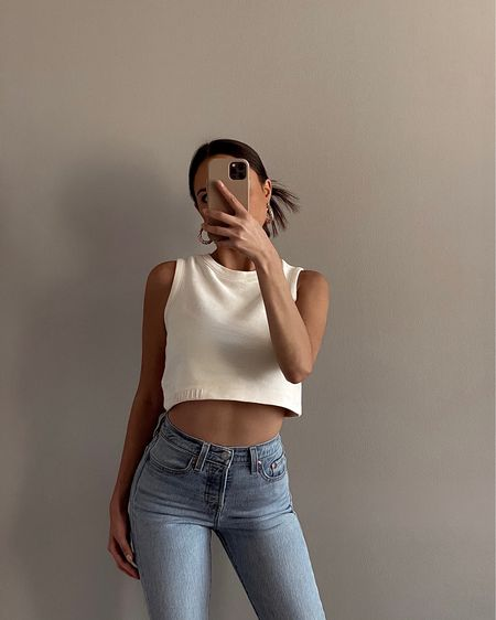 OOTD   AllSaints crop top   Jones Hoops by 8 Other Reasons   Levi's wedgie fit jeans   spring and summer outfit inspo   summer fashion http://liketk.it/3eCJ3 #liketkit @liketoknow.it #LTKunder50 #LTKunder100 #LTKstyletip