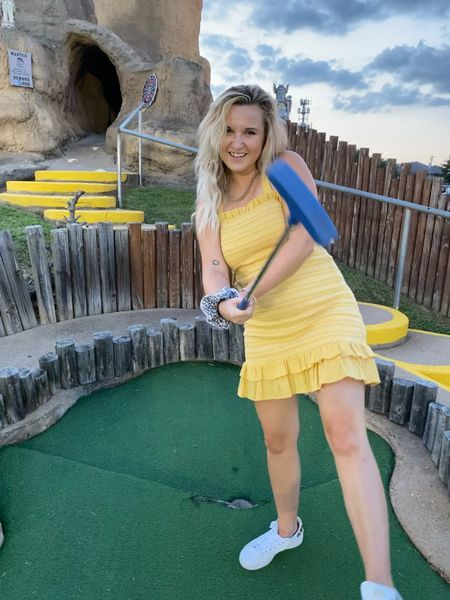 This mustard yellow body con dress with white tennis shoes outfit is a hole in one. Took a stab at crimping my hair also.  http://liketk.it/2Uz2y #liketkit @liketoknow.it #LTKunder50 #LTKstyletip #LTKbeauty