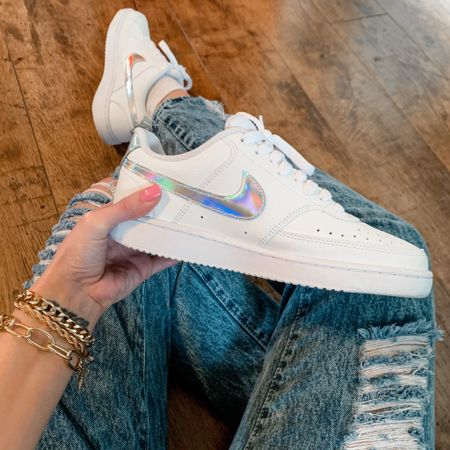 I'm not normally one to wear white sneakers...too much pressure. But I couldn't help myself with these iridescent swoosh Nikes! I've also linked so many fun gold chain bracelets to stack and mix and match ✨✨✨  #liketkit #LTKshoecrush #LTKstyletip #LTKunder100 @liketoknow.it http://liketk.it/3dJAX