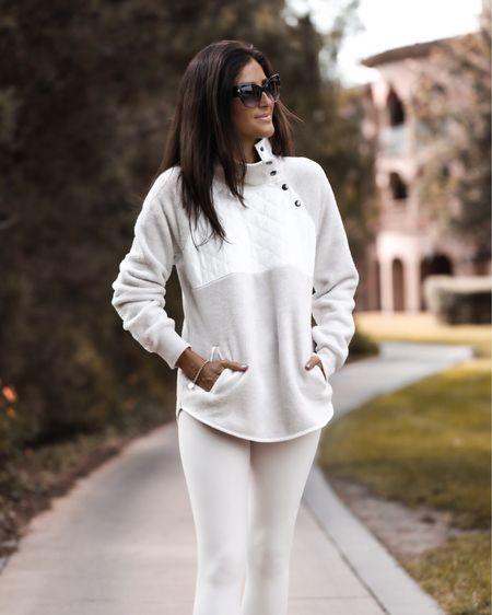 Sweater is on sale today! Monochrome style, monochrome outfit, fall style, fleece sweater, leggings, StylinByAylin   #LTKstyletip #LTKunder50 #LTKSeasonal