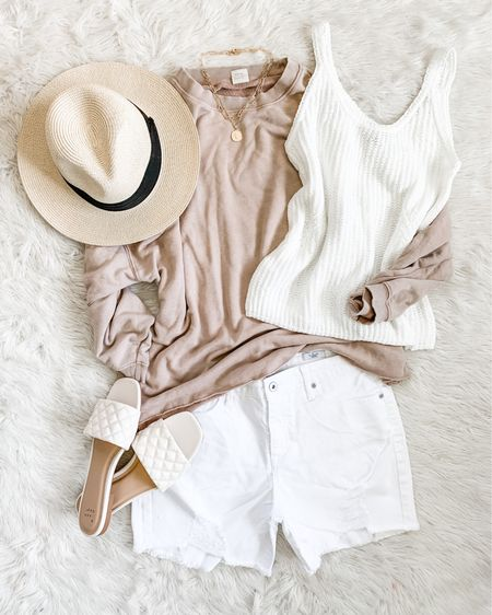 """I grabbed my favorite denim shorts in white, $24 at Walmart! 🤍 I wear a size 6 in this brand. Love the fit, distressing, length. White is totally impractical for me 😆 but I love the idea of white denim with this neutral """"nomad brown"""" color for summer 😍 Couldn't decide between quilted slides or Birkenstock lookalikes to finish off this comfy beachy look… 👉🏻🌾 Swipe up in Stories for links! http://liketk.it/3hu78 #liketkit @liketoknow.it"""
