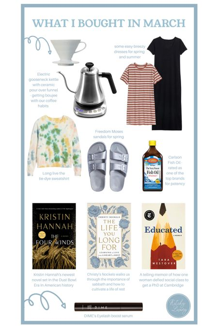 What I Bought in March http://liketk.it/3bQNr #liketkit @liketoknow.it #LTKstyletip #LTKunder100 #homegoods #coffee #reading #toberead #sandals #dresses