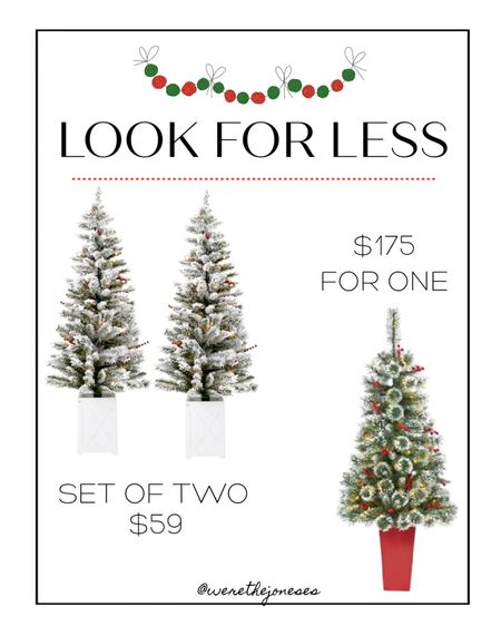 Potted Christmas trees - get the look for less! 🌲🌲  . Christmas decor, Christmas trees, holiday decor, flocked tree,  Christmas decorations, outdoor decor, holiday decorating  #LTKHoliday #LTKhome #LTKSeasonal