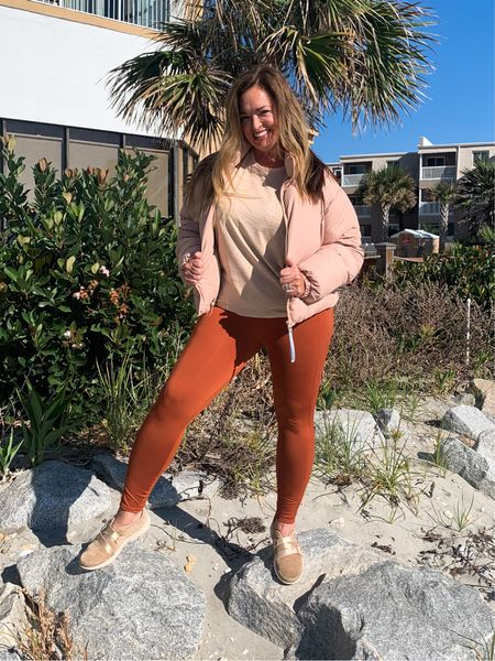This @fabletics outfit is my current favorite! #fableticspartner #moveinfabletic  This neutral puffer has an inside diagonal strap so you can carry it secured on your back! The copper leggings fit like a glove and this sleeveless tee has an adorable split back to show off your cute sports bra!   #LTKfit #LTKGiftGuide #LTKtravel