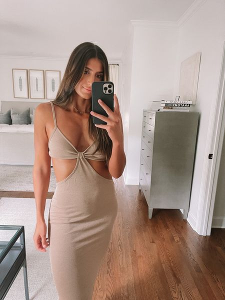 Cut out midi dress from Amazon fashion - would look great as a pool coverup too!   #LTKunder50 #LTKstyletip #LTKswim