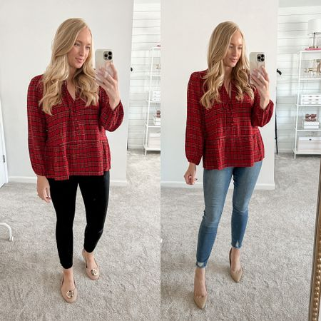 Festive red plaid top styled for work and a casual holiday get together with friends! Wearing a medium and it's roomy    #LTKworkwear
