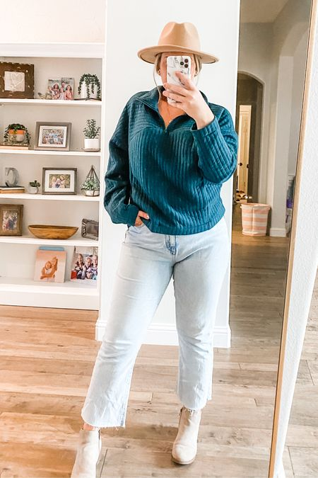 These loft jeans have quickly become a fav! This sweatshirt is adorable and from Target!!! And the booties are Walmart 🎉🍂  #LTKunder50 #LTKstyletip