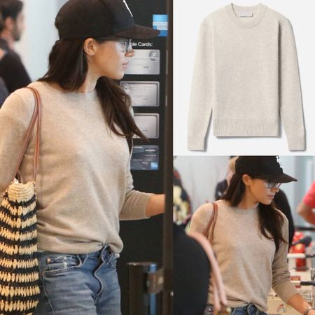Meghan wearing Everlane cashmere crew #cozy #sweater #crewneck #fall #pullover #travel  #LTKstyletip