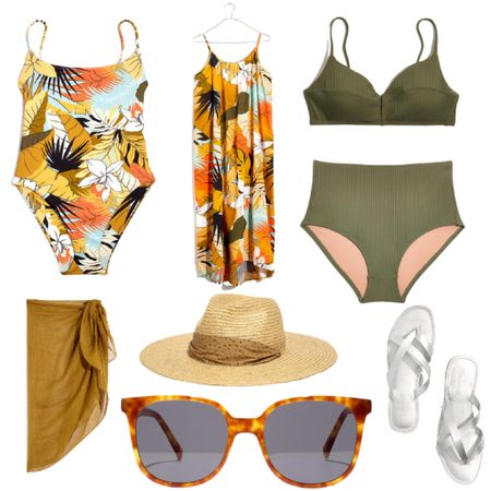 Grab some swimwear and book a vacay! Spend $125 and save $25 during the LTKDay Sale!  Swimwear : Beach Vacation : Pool : Madewell : Sunglasses : Hat : Sarong : Sandals : Cover Up    #LTKDay #LTKunder50 #LTKswim