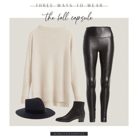 Spanx faux leather leggings, cream sweater, black booties, black hat  #LTKstyletip #LTKSeasonal #LTKunder100