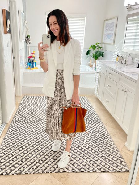 Skirt - Thread and Seed true to size - 10% off with code ARTINTHEFIND10  Tank - Sold Out NYC - true to size - code CONNIVIP20 for 20%   Shoes - MGemi - true to size -   Bag - Clare V   Blazer - Everybody and Everyone - I sized down and linked some similar here   #LTKstyletip #LTKshoecrush