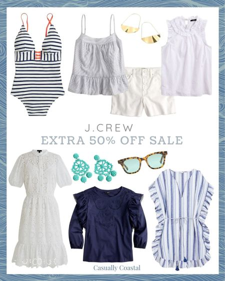 """J.Crew is having their """"end of the season"""" sale, even though there is plenty of summer left! All sale styles are currently an extra 50% off with code """"SALEONSALE"""". Tons of beautiful summer dresses, swimsuits, swimsuit cover-ups, shorts, sandals, blouses, pajamas, tank tops, sweatshirts and accessories - many of which I have featured in my previous """"Friday Favorites"""" posts. Many styles are final sale though, so just be aware of that!  @liketoknow.it #liketkit #LTKsalealert #LTKswim #LTKunder50 http://liketk.it/3jYJ3  beach style, coastal accessories, summer accessories, preppy style, beach vacation outfits, summer fashion, resort style, resort wear, beach style, beach vacation accessories, summer dress, dresses on sale, affordable dresses, short sleeve dress, midi dress, sleeveless dress, dresses under 50, cotton dresses, sale dresses, dresses on sale, eyelet dress, white dresses, navy bathing suits, navy swimsuits, navy swimsuit, navy bathing suit, one piece swimsuit, swimsuit for mom, lined swimsuit, jcrew swimsuit, jcrew swimsuit, j.crew swimsuit, blue and white striped blouse, ruffled top, sleeveless blouse, gifts for her, striped swimsuit, striped bathing suits, blue and white swimsuit, blue and white bathing suit, blue and white striped swimsuit, striped swimsuit, striped bathing suits, blue and white swimsuit, blue and white bathing suit, blue and white striped swimsuit, white jean shorts, button front jean shorts, affordable beach cover-up, navy and white cover-up, blue and white cover-up, jcrew coverups, statement earrings, summer earrings, sunnies, sunglasses under 50, sunglasses under $30, tortoise sunglasses, gold hoop earrings, beach coverups, beach tunic, beach cover up tunic, beach vacation coverups, coverups for women, ruffle trim top, cotton tank tops, gifts for her, blouses for work, work blouses, jcrew blouses"""