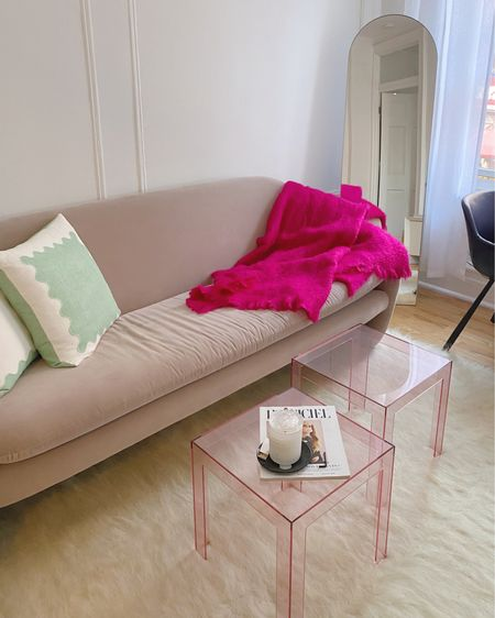 The green pillows you all LOVE are 25% off this weekend, and my pink tables (which come in a handful of other colors, too) are also on sale! Linked everything in this pic @liketoknow.it #liketkit http://liketk.it/3iSDF #LTKsalealert #LTKhome