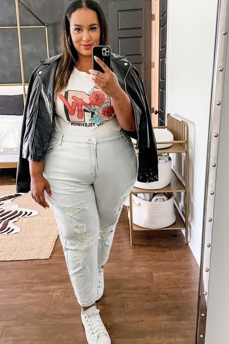 Obsessed with these jeans from target. Also wearing my staple moto jacket   #LTKbacktoschool #LTKunder50 #LTKcurves