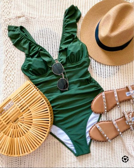 Best selling swimsuit from amazon   True to size - comes In other colors     #liketkit @liketoknow.it        Swimsuit, amazon fashion, bathing suit, sandals, vacation outfit, beach vacation, one piece swimsuit  #ltkday #ltksalealert  #LTKtravel #LTKswim #LTKunder50