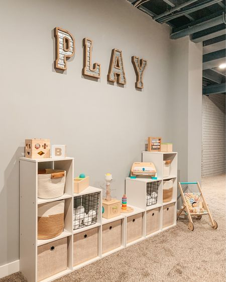 """""""PLAY is the highest form of research"""" — Albert Einstein 💫 #playroominspo Here's a closer look at our basement playroom organization, while it's clean for 5 min 😂 All details are on the blog and linked on the @shop.LTK app here #liketkit #targetstyle #amazonfinds #playroomdesign #playroom #modernfarmhouse #targethome #storagesolutions #farmhousestyle #woodentoys #playroomstorage #mommyblogger #playroomorganization   #LTKfamily #LTKhome"""
