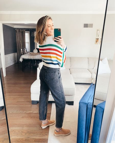 Rainbow striped crop sweater with black Genzie millennial pants and Dr. Scholl's slip on shoes http://liketk.it/3a7ys #liketkit @liketoknow.it #LTKunder50 #LTKstyletip